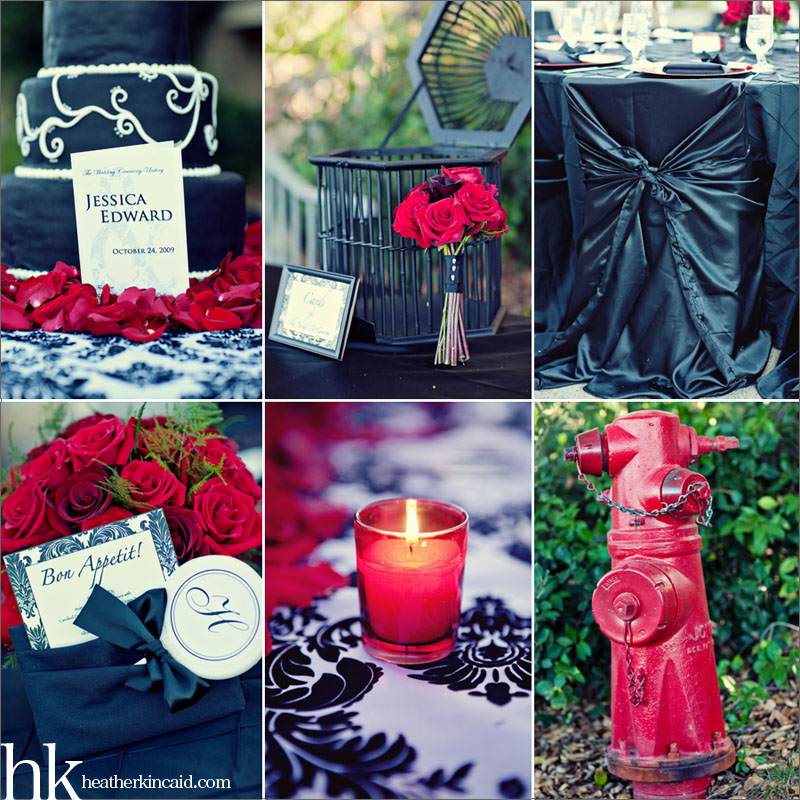 black white and red wedding details