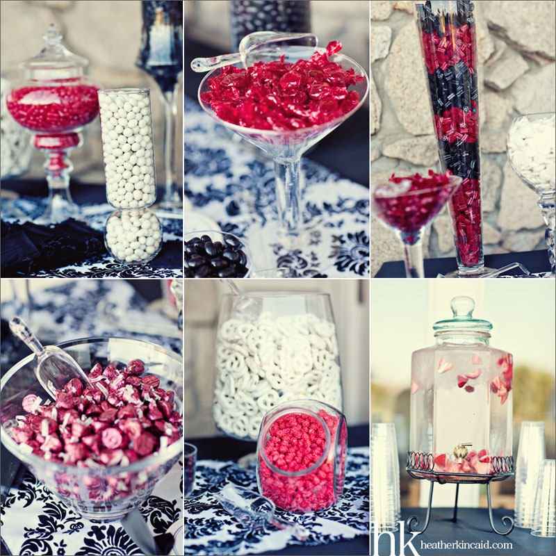 black white and red wedding details candy bar