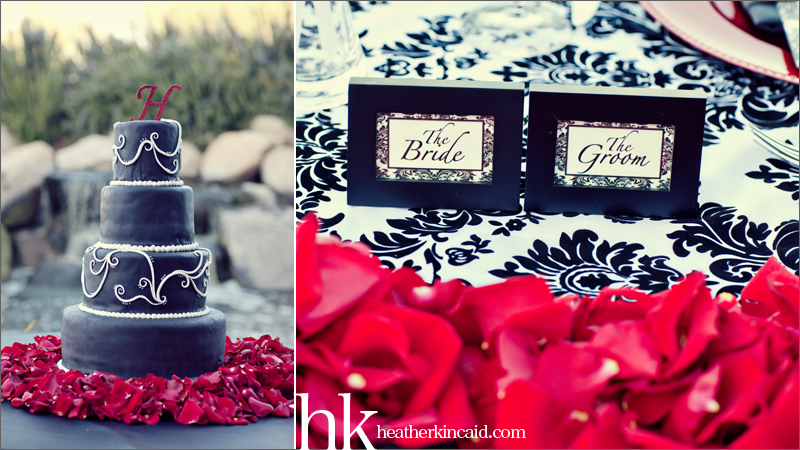 black white and red wedding details wedding cake